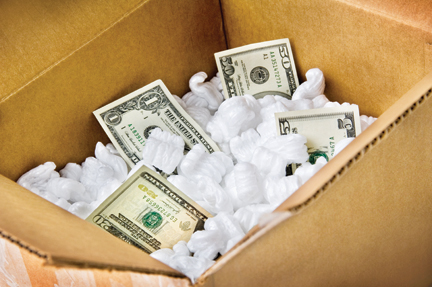 Moving Box with Dollar Bills Inside