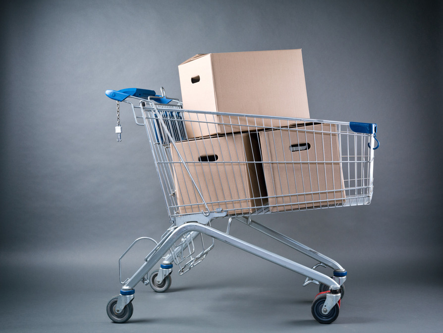 Moving Boxes in Shopping Cart