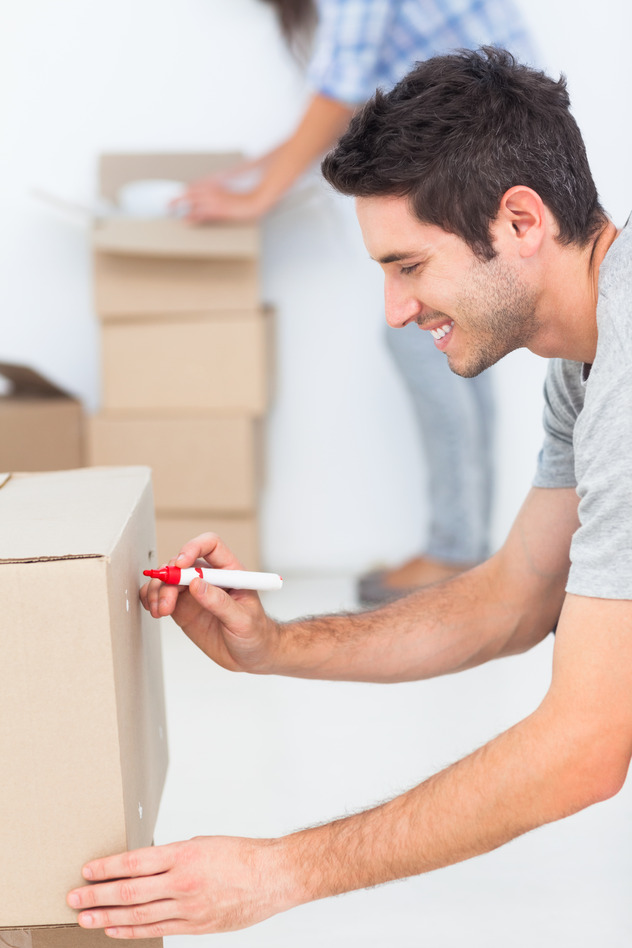 Handsome Man Label Moving Box with Red Marker