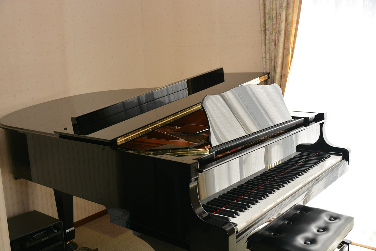 Black Grand Piano Settled Next to Window