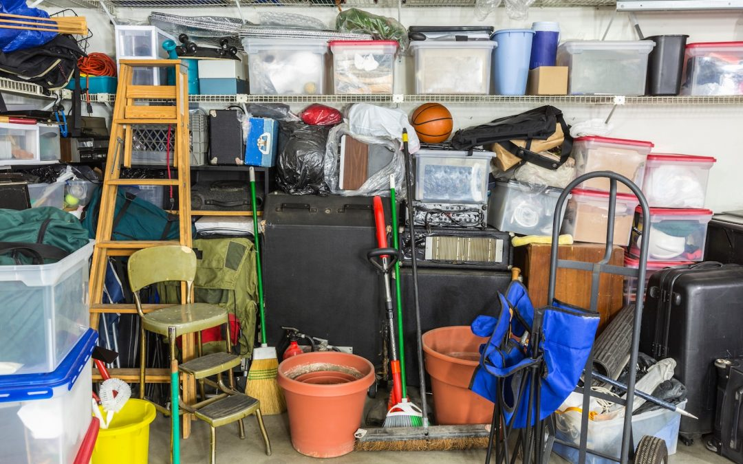 A cluttered house before moving