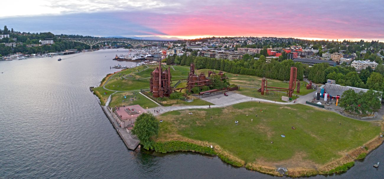 Aerial view of Gasworks Park in Seattle WA