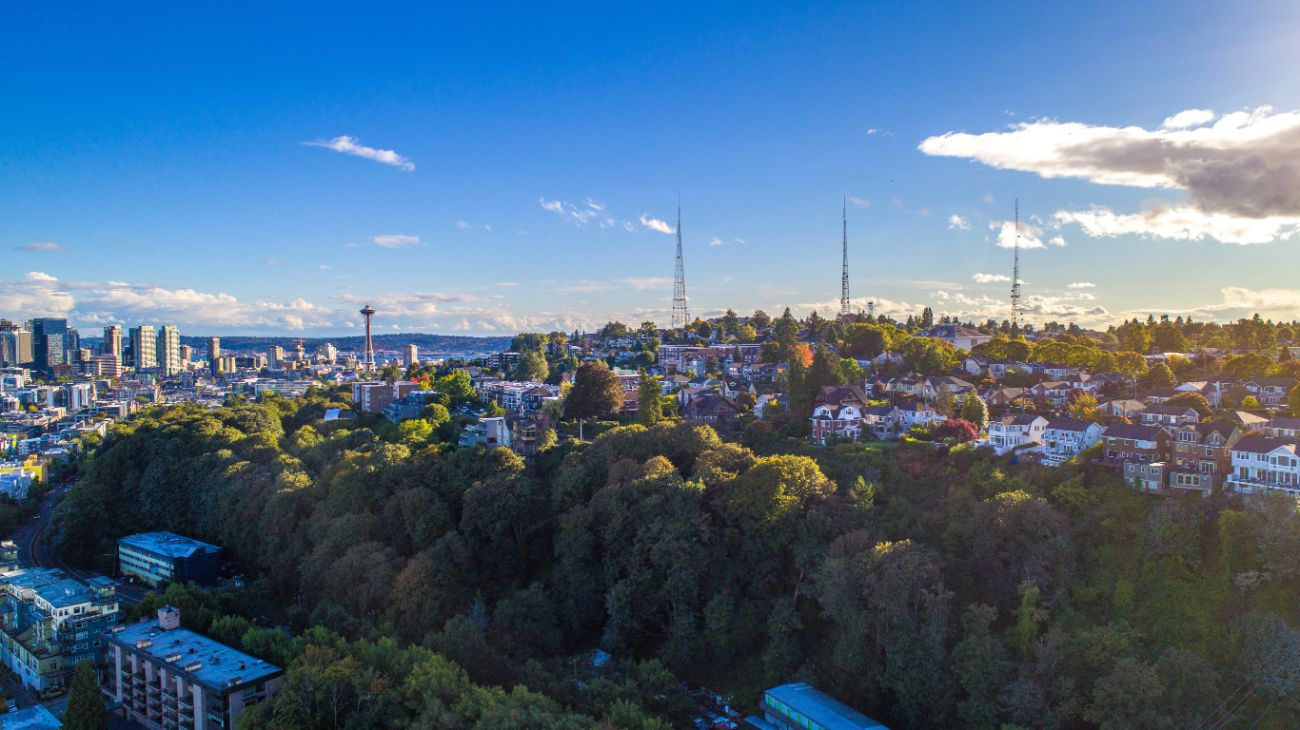 Aerial view of Seattle Washington