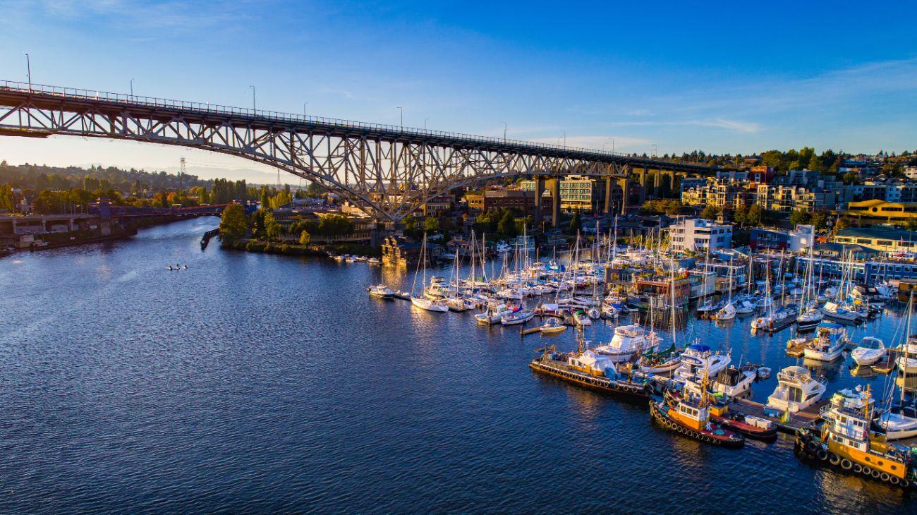 Boats under the Aurora Bridge in Seattle Washington