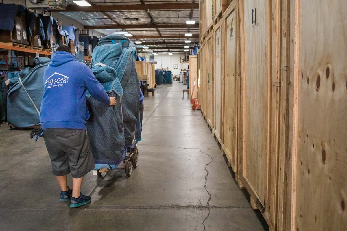 Specialty moving staff storing piano in Portland