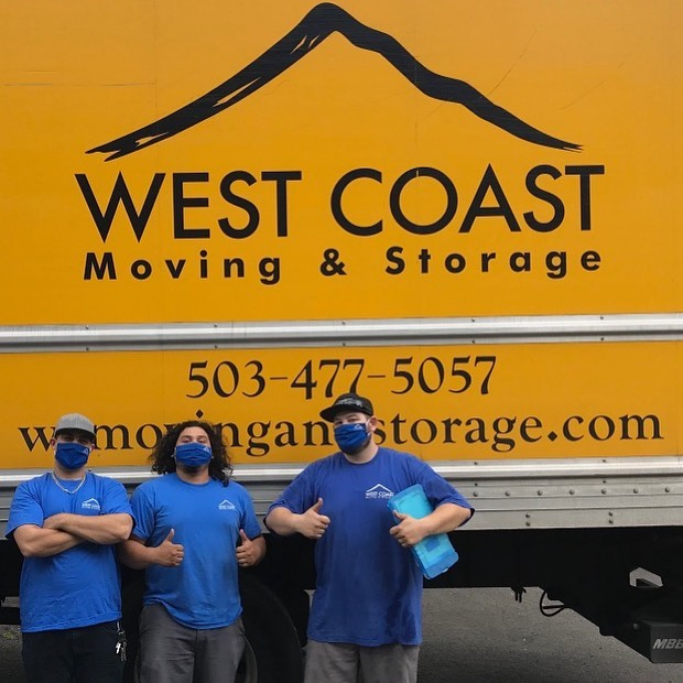 West Coast Moving team wearing masks for covid-19 safety