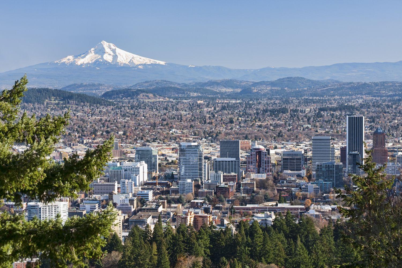 Mount Hood over Portland Oregon city