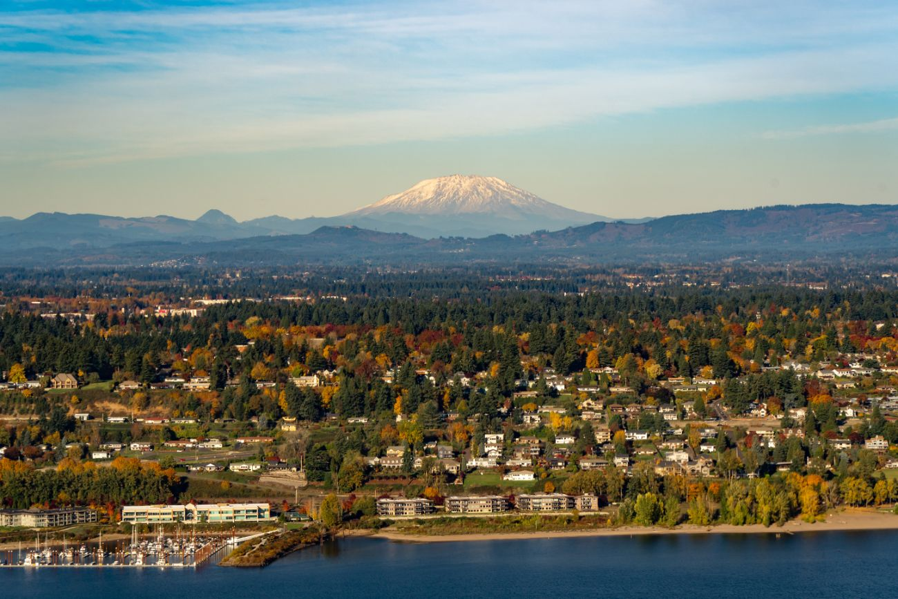 View of Mt St Helens behind Vancouver WA on sunny day