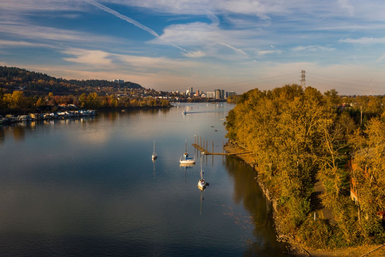 Aerial view of Milwaukie, Oregon on the Willamette River