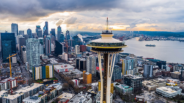 Cloudy Seattle Skyline with the Space Needle
